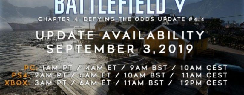 Battlefield V: Update 4.4 soll doch Heute erscheinen, PC Spieler sollten das Spiel besser neuinstallieren & Changenotes