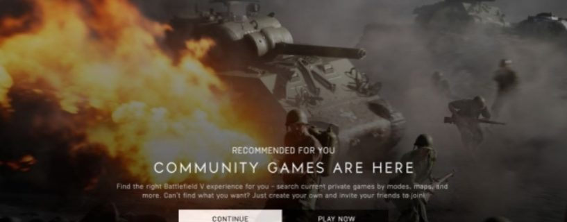 Battlefield V: Screenshot zu Einstellungen für Community Games geleakt